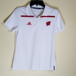 Adidas Boys Sz Small Polo Wisconsin Badgers White